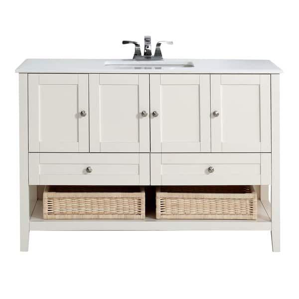 Wyndenhall Belmont 48 Inch White Bath Vanity With White Quartz