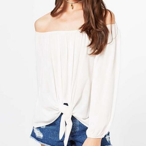 Best Plain White Tie Front Top For Women Off The Shoulder Tops 400 x 300