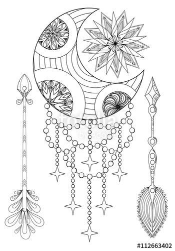 Dream Catcher Coloring Pages For Adults Pages For Adults On Pinterest Wolf Desig Moon Coloring Pages Dream Catcher Coloring Pages Sun And Moon Drawings