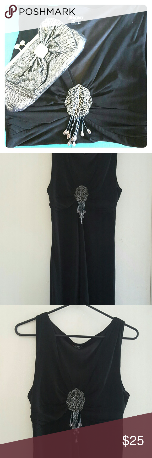 XOXO Black Dress This is a very nice black dress I wore to a charity event. Its fitted in the body with a slight plunge in the neckline. The bottom is a high low with a slight flair. It had a full back. XOXO Dresses Midi