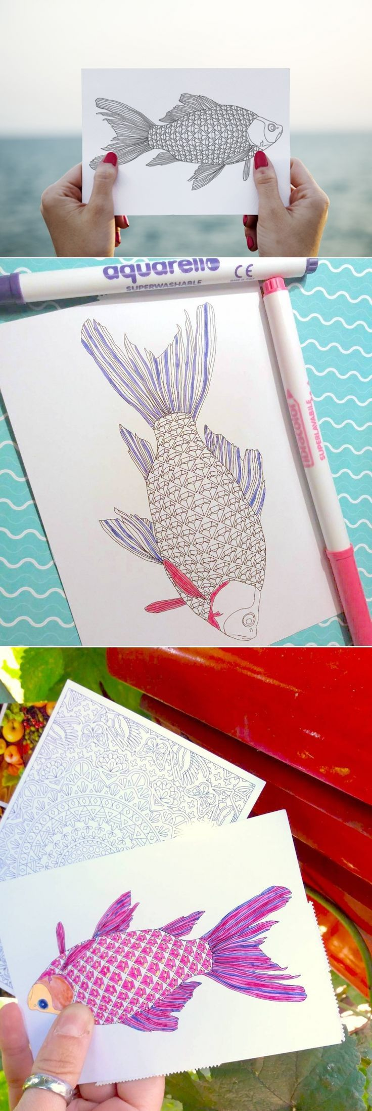 Diamonds Fish Postcard to Color In for Fishing Lovers or Adult ...