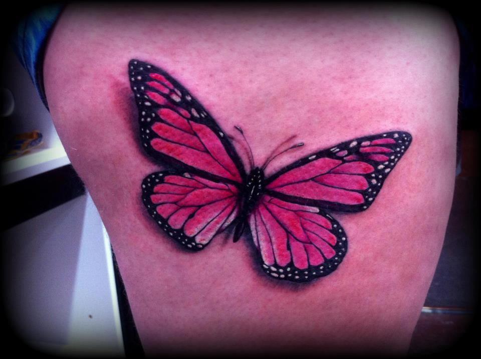 263c89b320c0b realistic tattoo art | Realistic butterfly tattoo pink by ~Slabzzz on  deviantART