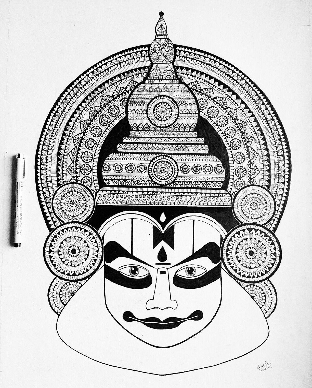 Artist Deepa Balakrishnan Kathakali Katha Means Story Kali Means Play Kathakali Is One Of The Major Mandala Design Art Mandala Art Lesson Mandala Art