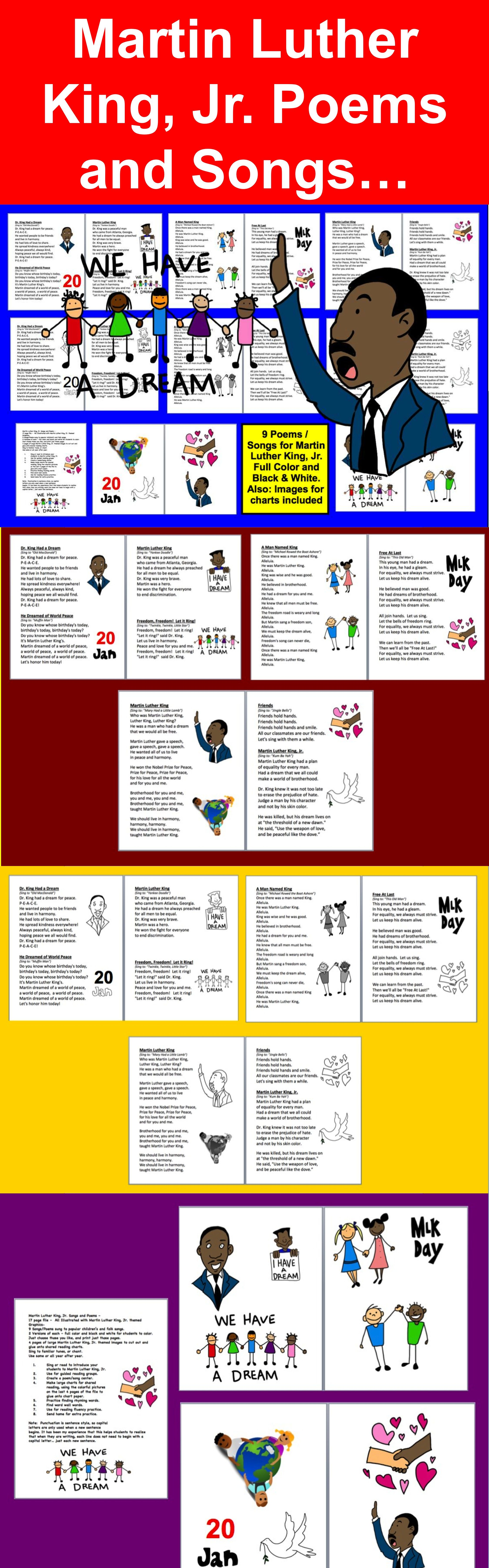Coloring pictures martin luther king jr - Martin Luther King Jr Songs And Poems 17 Page File All