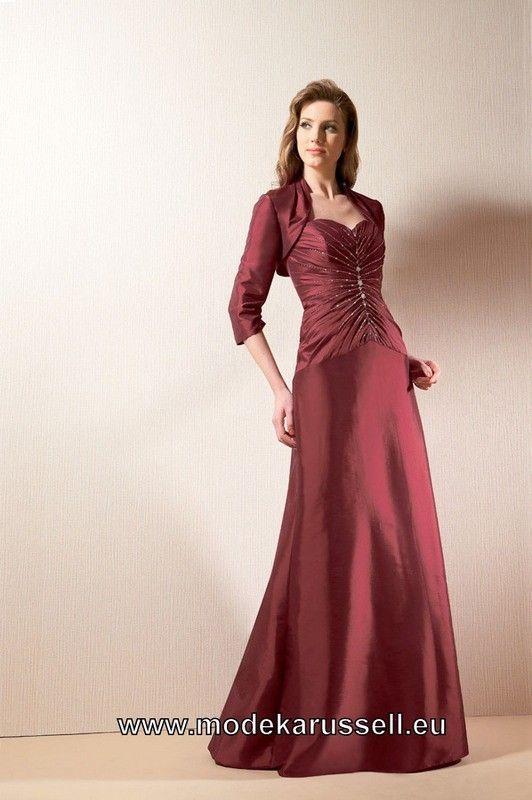 Festliches Damen Abendkleid in Weinrot mit Bolero (mit ...