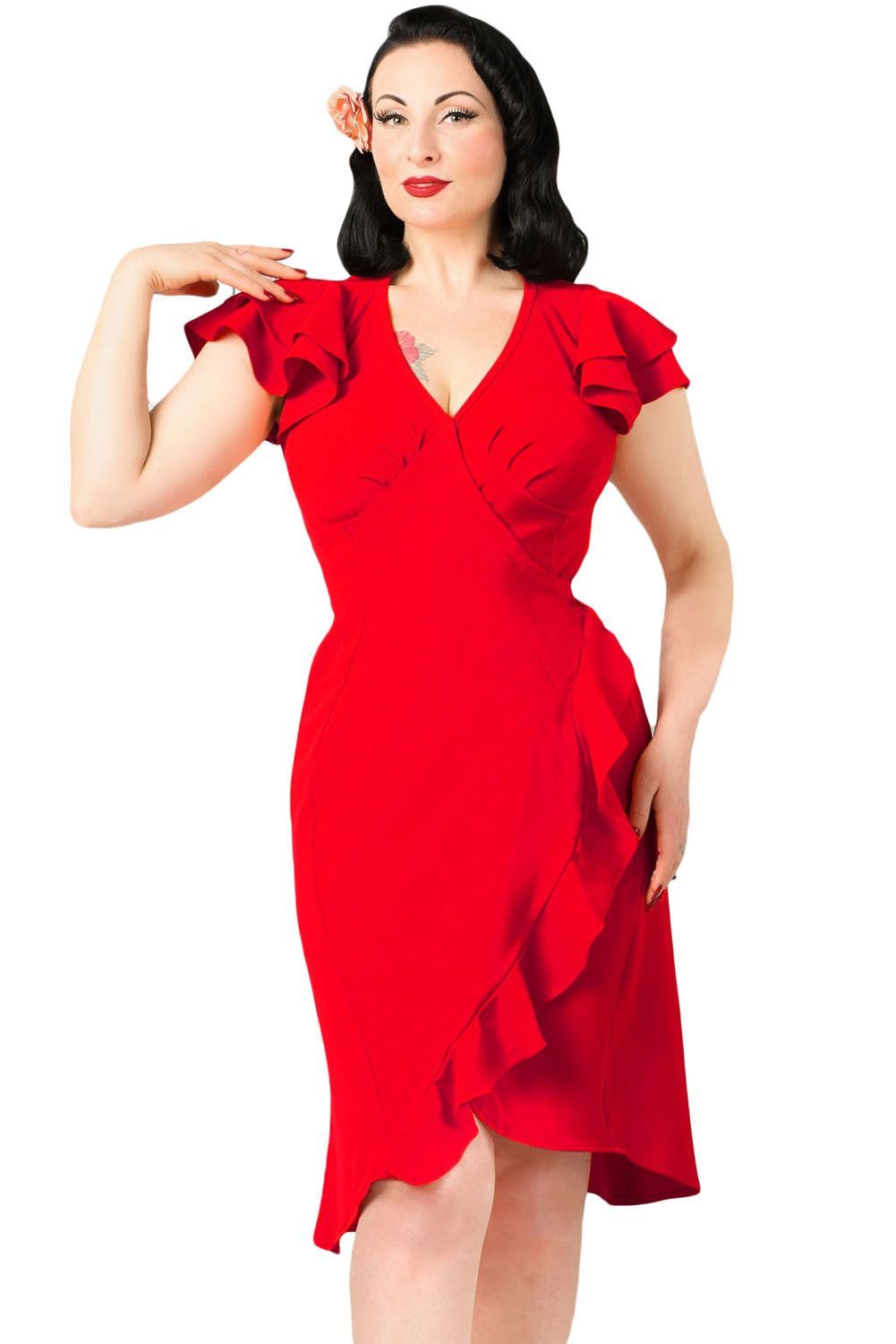 Chicloth red s flutter sleeves wrap ruffled vintage dress robe