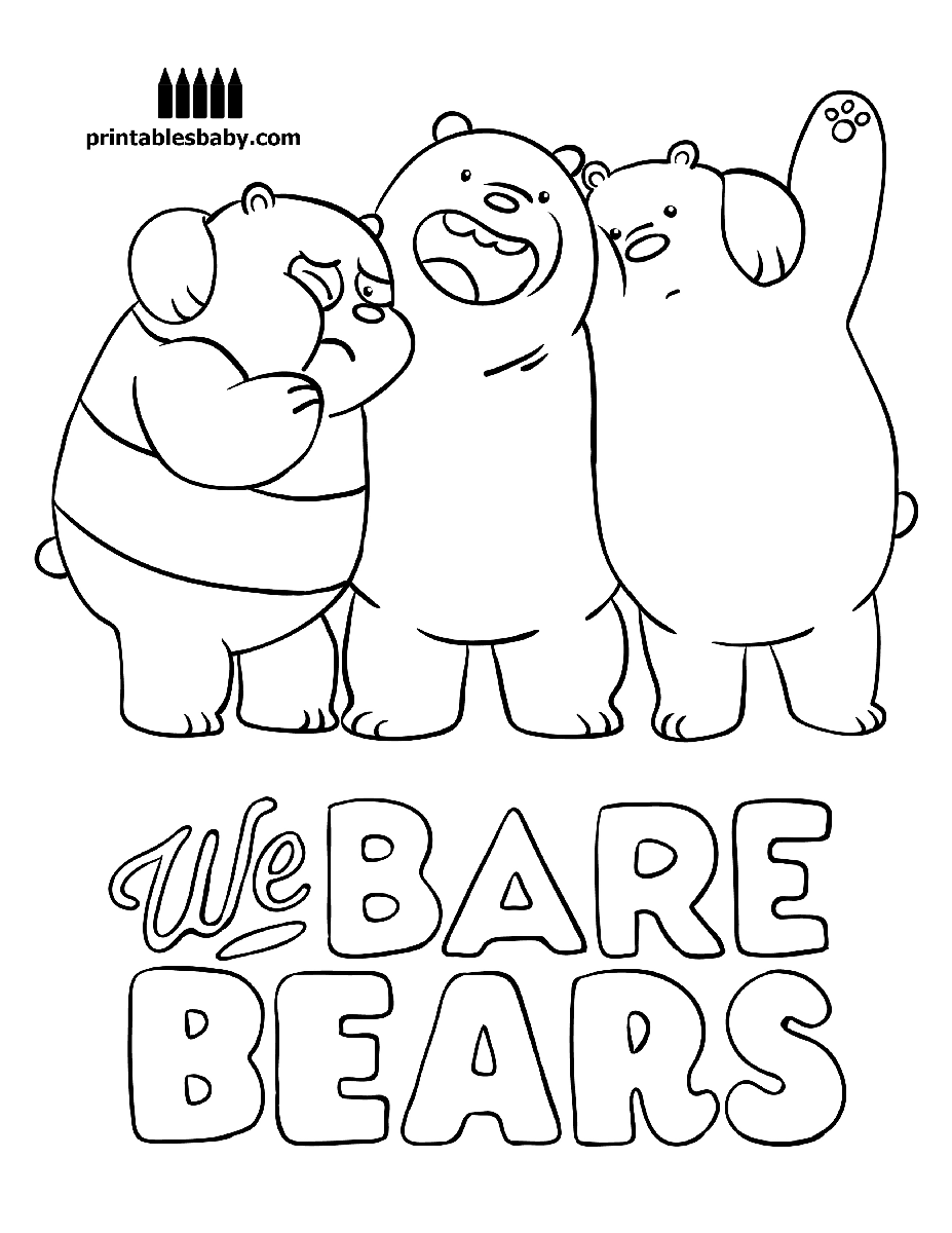 We Bare Bears Printables Baby Free Cartoon Coloring