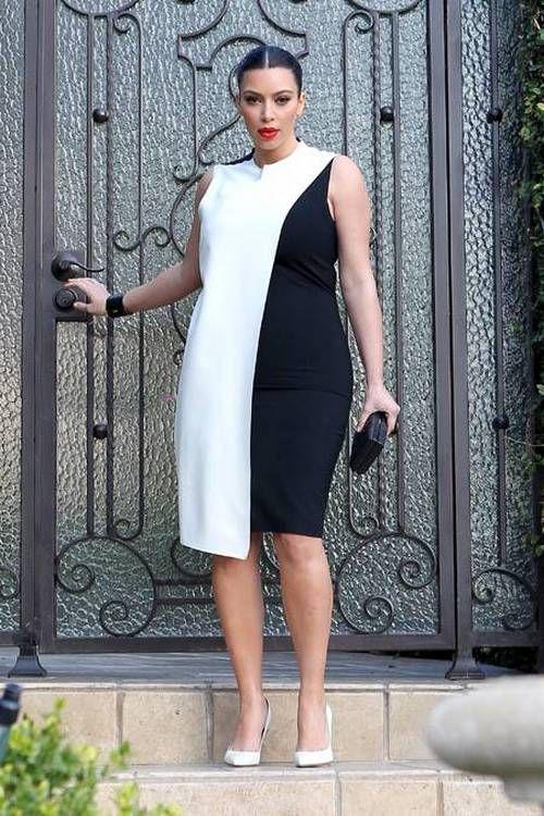 c32b7d532dd3 Комбинированное черно-белое платье-футляр для полных   Женская мода ...
