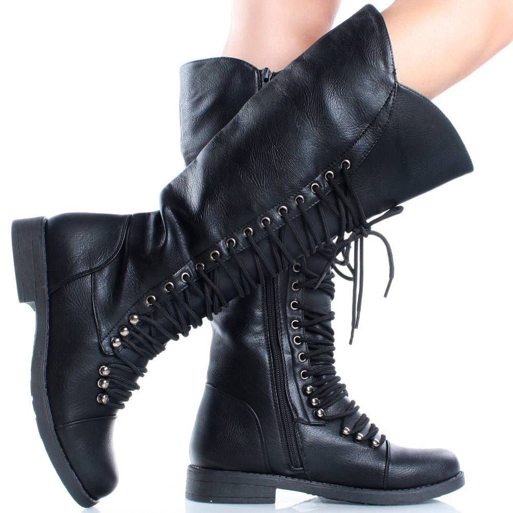 pictures of cute combat knee high boots | ... Lace Up Zipper ...