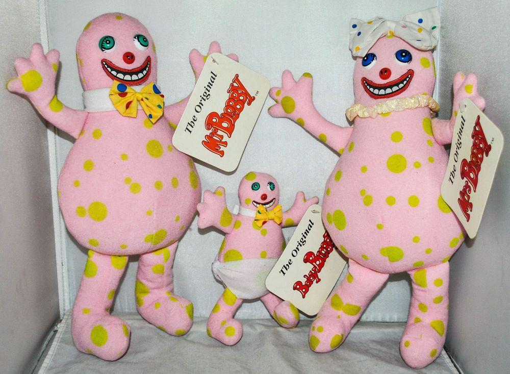 The Original Mr Blobby, Mrs Blobby & Baby Blobby Soft Toys, BBC 1992, RARE!!!