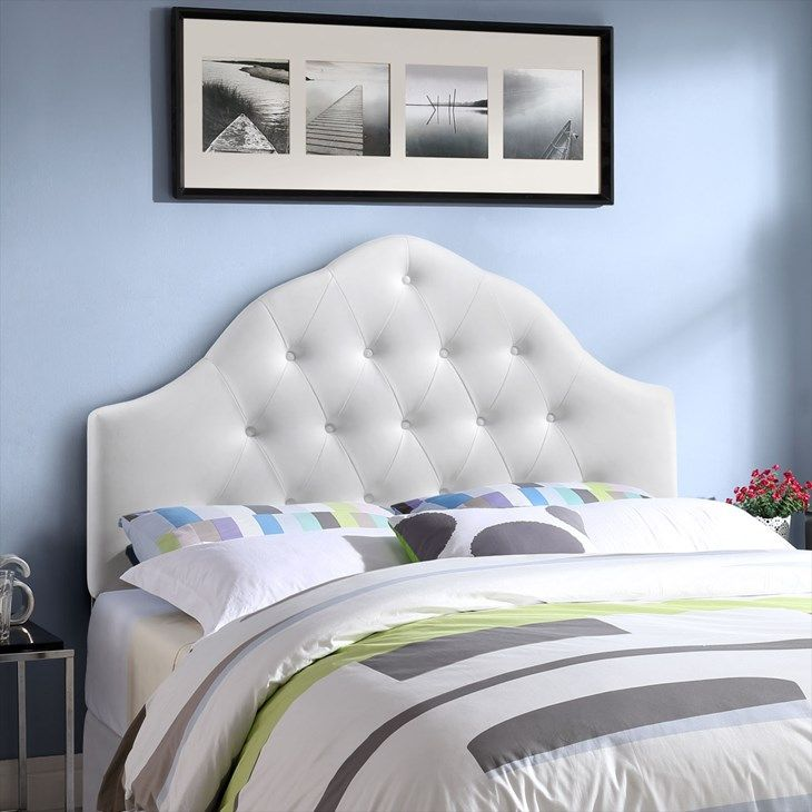 Sovereign Queen Upholstered Vinyl Headboard In White Lexmod Home