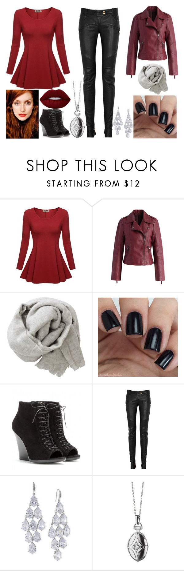 """""""Untitled #252"""" by alexaroutledge on Polyvore featuring Chicwish, Brunello Cucinelli, Burberry, Balmain, Carolee, Monica Rich Kosann and Lime Crime"""