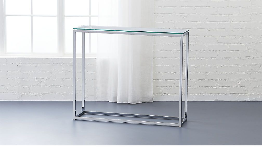 Smart Glass Top Console Table Cb2 This Shiny Chrome Finish