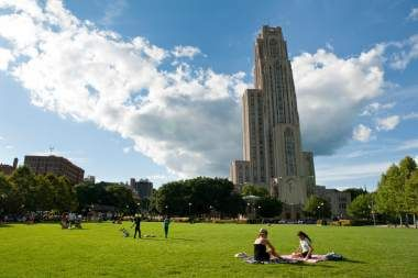 The green space about the Cathedral of Learning at the University of Pittsburgh