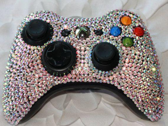 Swarovski Rhinestoned Xbox Controller! So cute! From Etsy