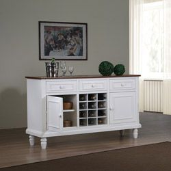 this buffet features two wooden doors three drawers and 12 wine cubbies for maximum storage space and a sleek white finish - White Buffet
