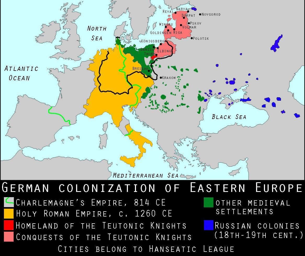 A Map Of The German Colonization Of Eastern Europe Hărți - Map of east us and europe