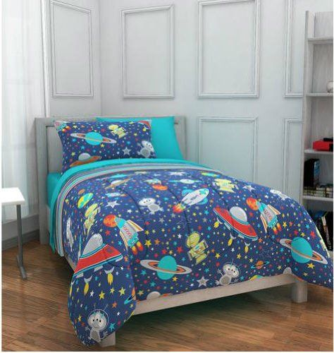 Rocket Bed space rockets planets aliens twin comforter set 5 piece bed in a