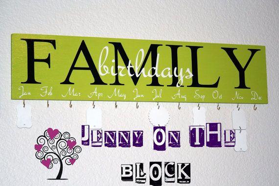 Family Birthdays Board by JenontheBlock on Etsy