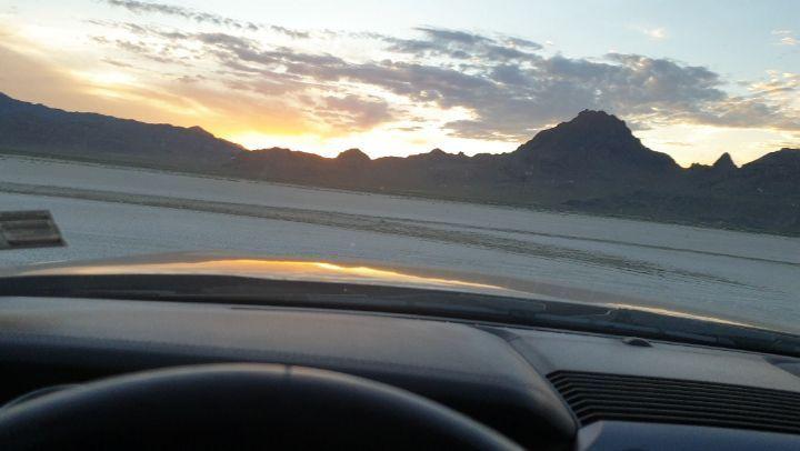 Driving on the salt lake flats