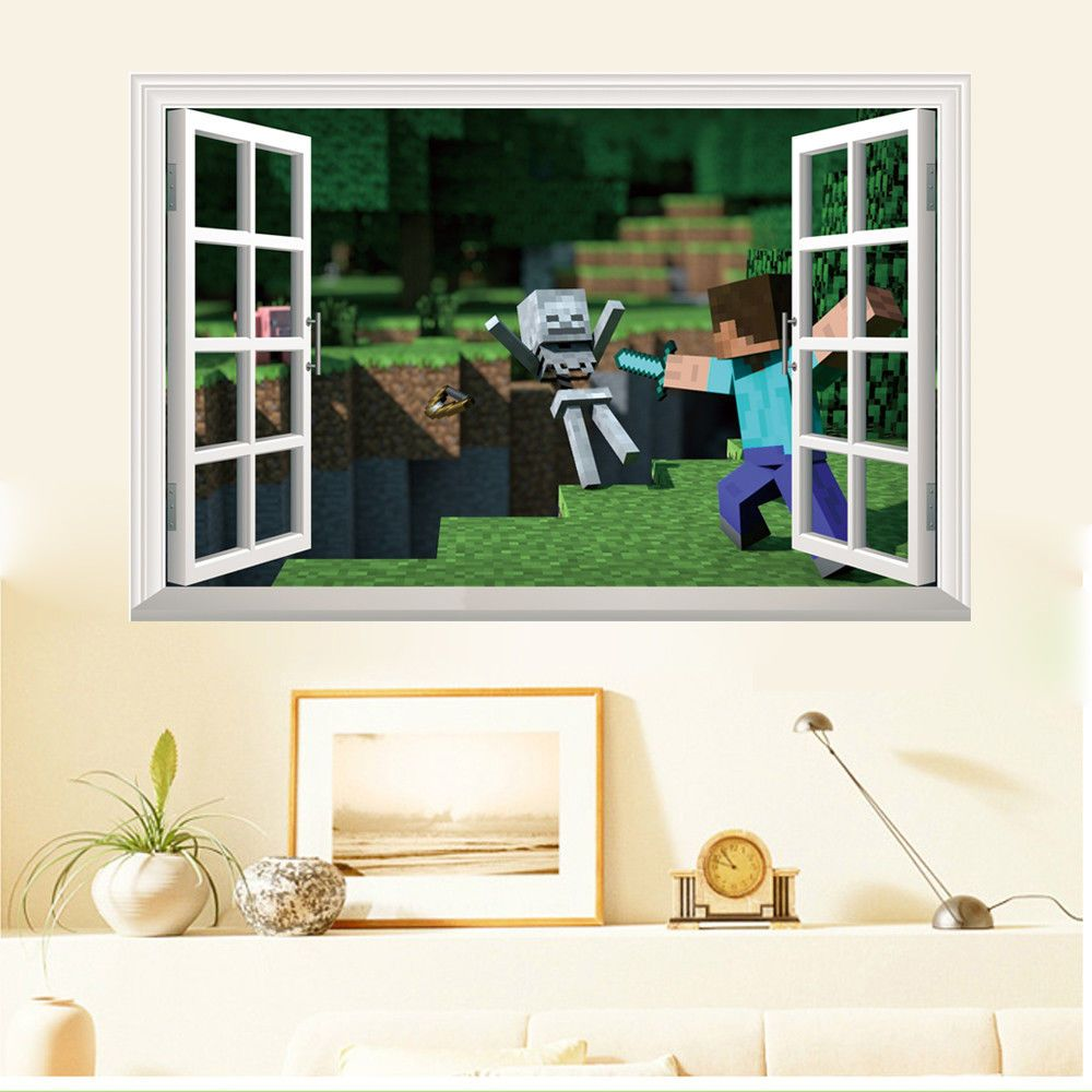 MineCraft Game 11D Steve Attack DIY Home Decal Wall Mural