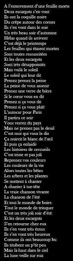 Jacques Prévert Chanson Des Escargots Qui Vont A L'enterrement : jacques, prévert, chanson, escargots, l'enterrement, CHANSON, ESCARGOTS, L'ENTERREMENT, Jacques, Prévert, Chanson,, Enterrement,, Prevert