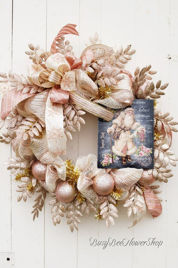 Vintage Santa Christmas Wreath for Front Door, Blush Pink and Gold Christmas Decoration, Christmas Deco Mesh Wreath, Santa Deco Mesh Wreath #decomeshwreaths