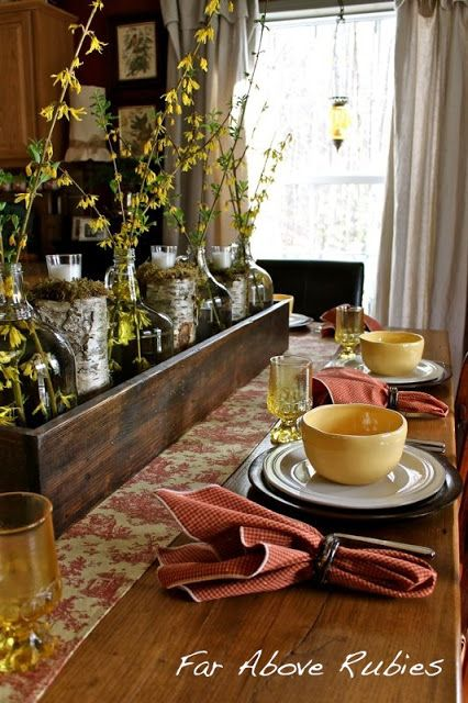 Far Above Rubies 17 Ways To Use A Long Box As A Centerpiece Wooden Box Centerpiece Farmhouse Table Centerpieces Wooden Boxes