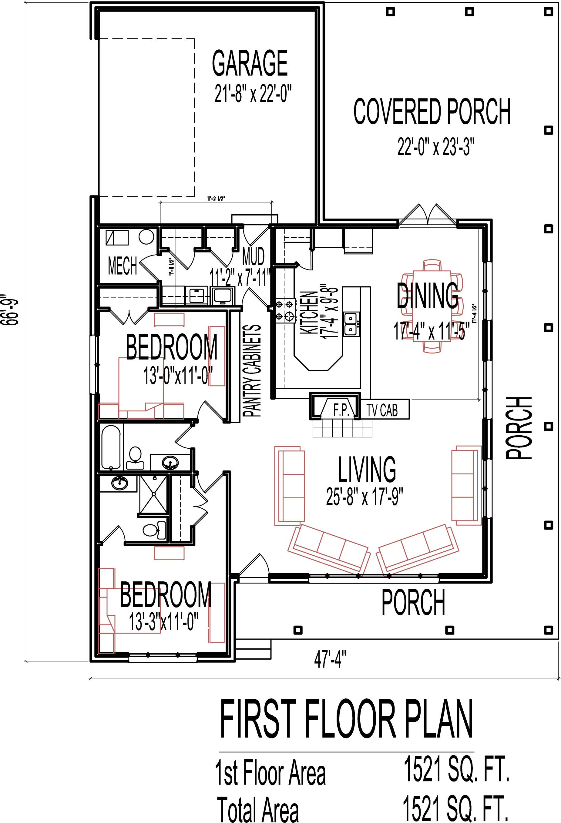 1 Story 2 Bedroom House Plans I think this may be the