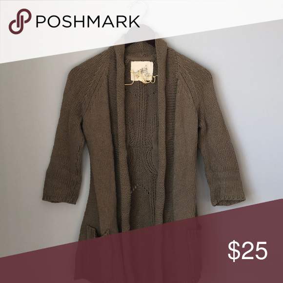 Anthropologie XS Sweater Cardigan Green // Sweater Cardigan // pockets // knitted // mid thigh length Anthropologie Sweaters Cardigans