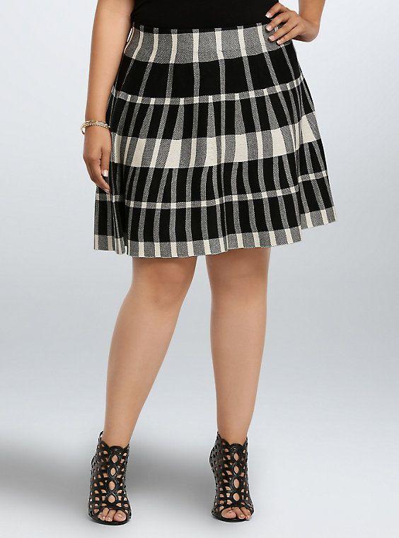 Plaid Sweater Knit Skater Skirt 54d8e56b2