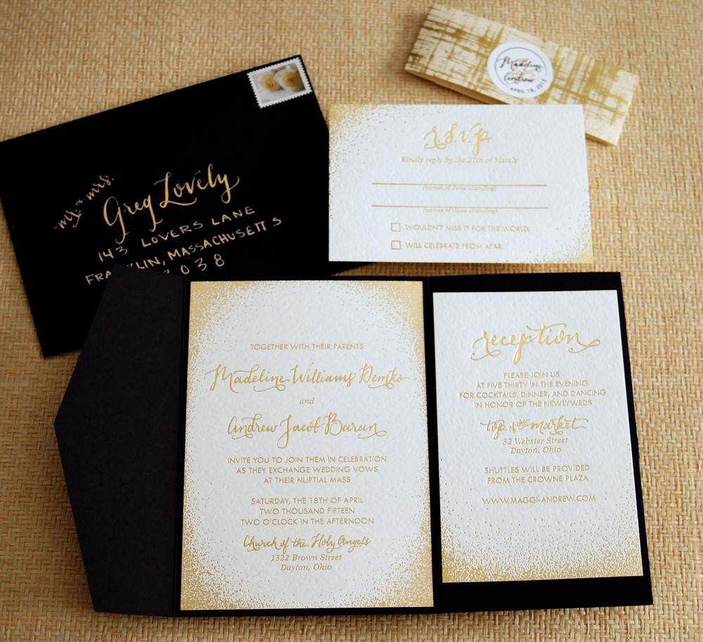 black and rose gold wedding invitation - Google Search | Wedding ...