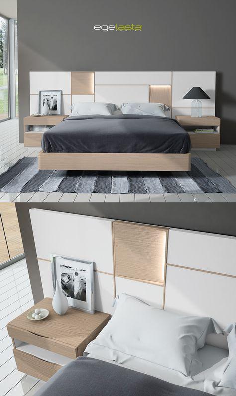 Egelasta · Mueble · Moderno · Madera · Mobiliario de hogar · Catálogo New Live · Noche · Dormitorio · Cama con cabezal Mondrian y mesita de noche Aries · Roble nórdico y laca blanco
