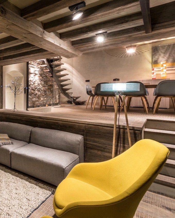 visite d co chalet design au pied des pistes salon. Black Bedroom Furniture Sets. Home Design Ideas