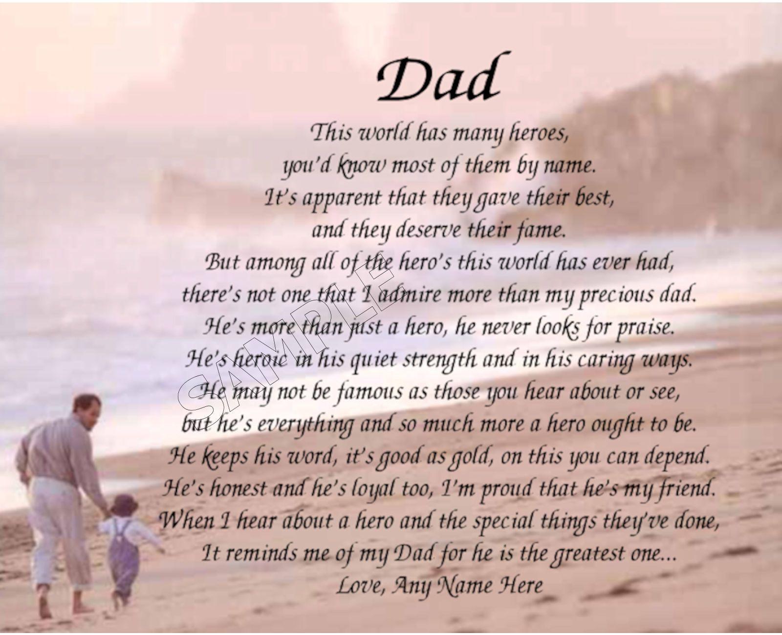Dad My Hero Personalized Poem Memory Birthday Father S Day Gift