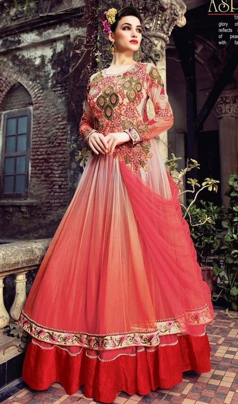 aa1ee75c42 Strike a fashionable pose with this beige, peach puff and red net floor  length Anarkali suit. The charming butta, lace, resham and stones work a  intensive ...