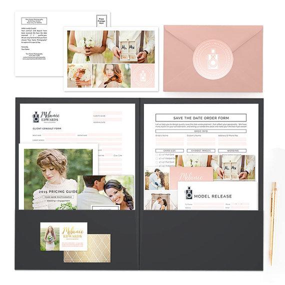 Wedding Welcome Packet Photography Marketing Logo Template Set Kit Mk146d