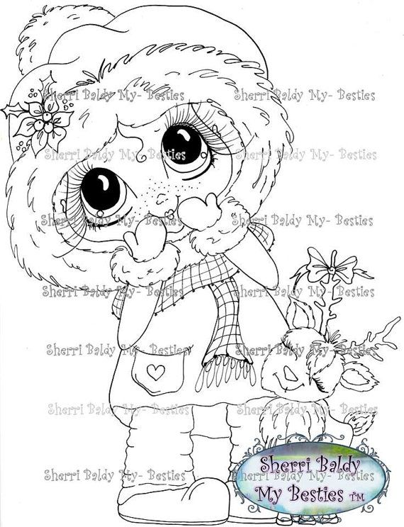 INSTANT DOWNLOAD Digital Digi Stamps Big Eye Big Head Dolls Digi Img917…