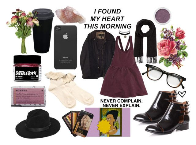 """""""HOLD ON TO ME"""" by hot-sweet-taste ❤ liked on Polyvore featuring Jeffrey Campbell, Barbour, Cutler and Gross, Comptoir Des Cotonniers, FRUIT, Bare Escentuals, Incase, OKA, Korres and Charlotte Russe"""