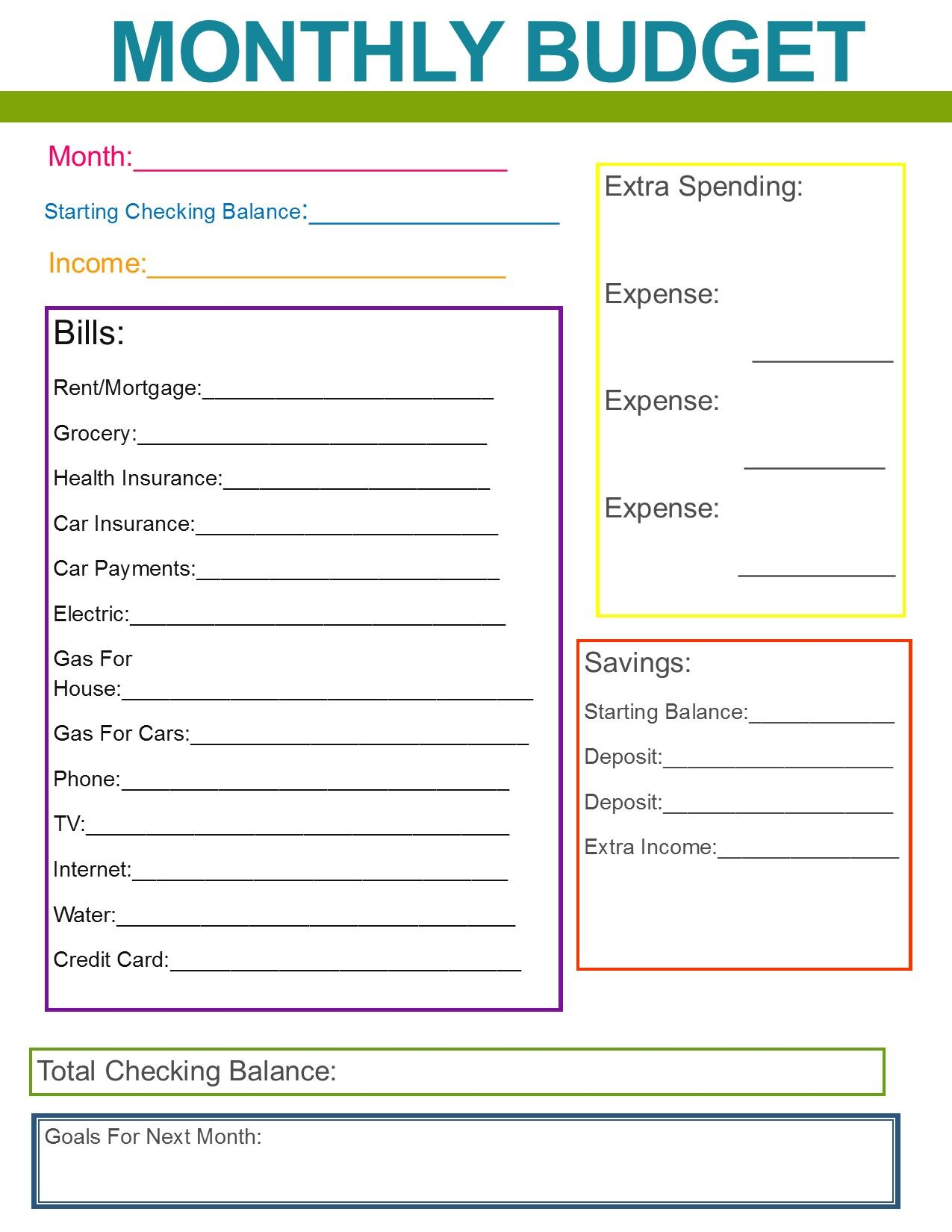 Worksheets Household Budget Worksheet Printable monthly family budget budgeting organizations and organizing thinking outside the pot