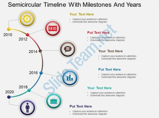 hb semicircular timeline with milestones and years powerpoint - powerpoint timeline