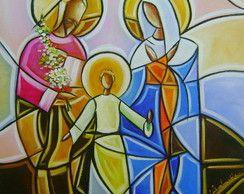 Pintura Sagrada Família 40x40 Cod 629