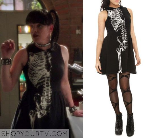 Abby Sciuto (Pauley Perrette) wears this black, sleeveless skeletonprint dress in this episode of NCIS. It is the Iron FistBone Daddy Black Sleeveless Dress. Sold out. #blacksleevelessdress