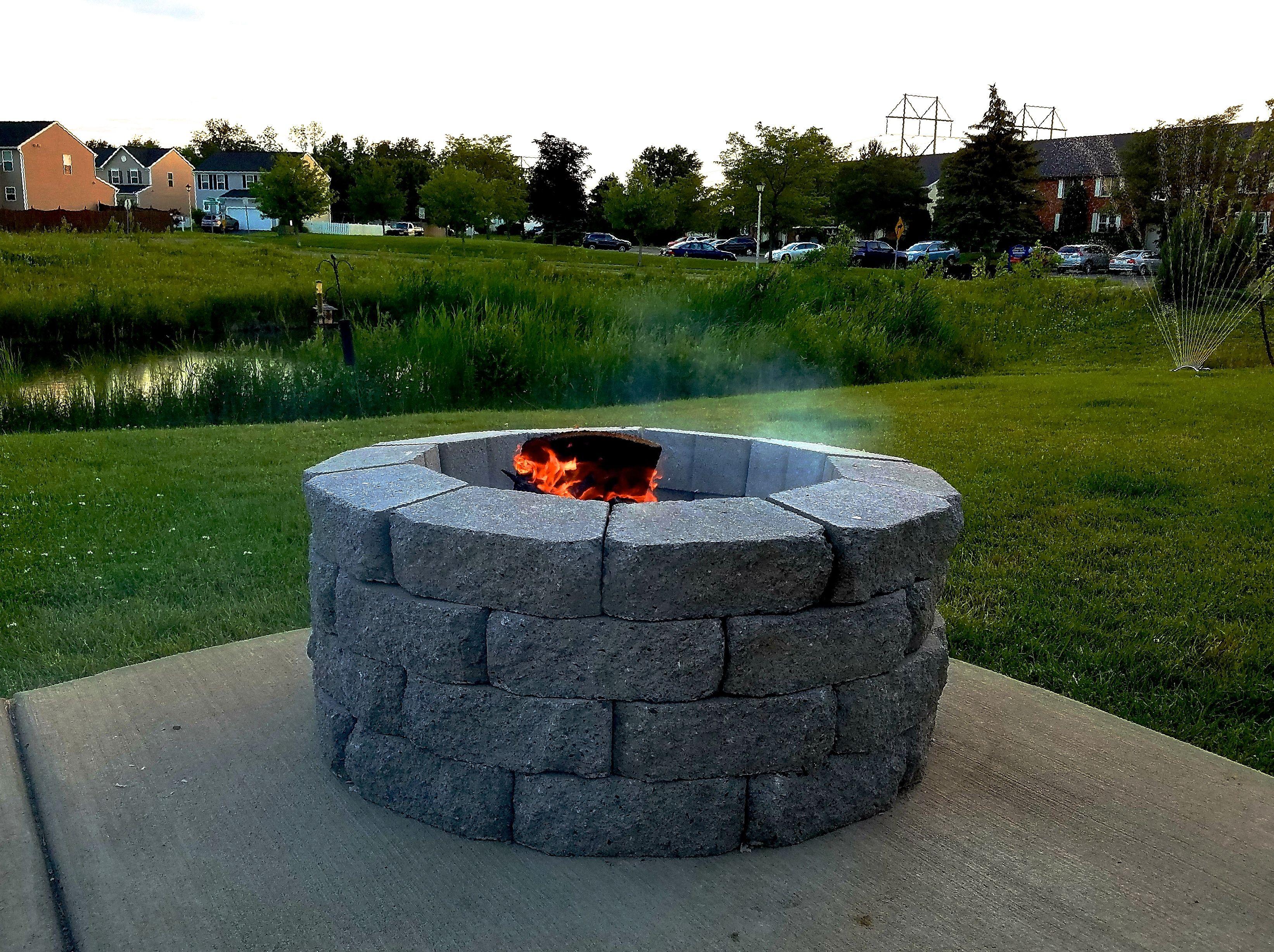 Diy firepit diy fire pit concrete patio