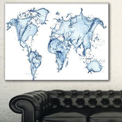 DesignArt 'World Map Water Splash' Graphic Art on Wrapped Canvas Size:
