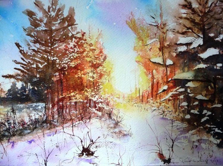 Paysage hivernal - Peinture,  40x50 cm ©2013 par Pierre Patenet -                                                            Art figuratif, Papier, Paysage, Aquarelle, Oeuvre, Peinture, Art, Hiver, Neige, Paysage, Forêt