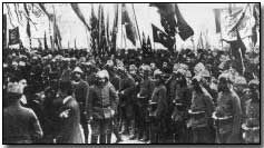 Turkish troops receiving the declaration of war at the Mosque of Faith, Constantinople