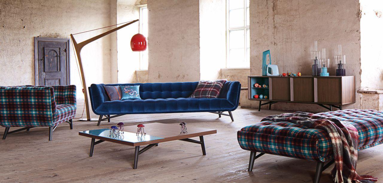 Upholstered in cabaret velvet 100 cotton or in tartan for Canape jean paul gaultier