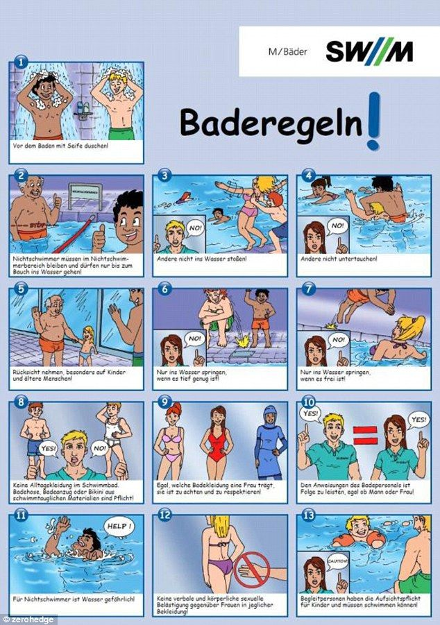 Germany hands out cartoon etiquette guides at swimming baths | Weird ...