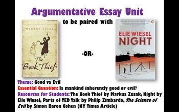 Argumentative Writing Unit For The Book Thief Or Night Essay Questions Question